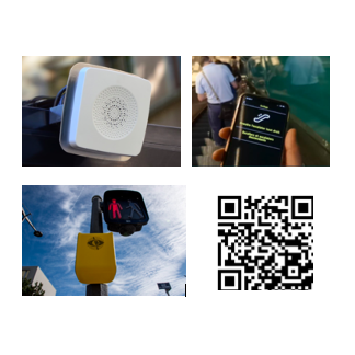 A collage of four images: three examples of audio beacons, accessible pedestrian signals, and apps that aid mobility, and one QR code in the bottom right to RSVP for the event
