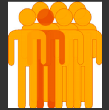 Icons of 7 orange stick men with one standing out in a darker orange