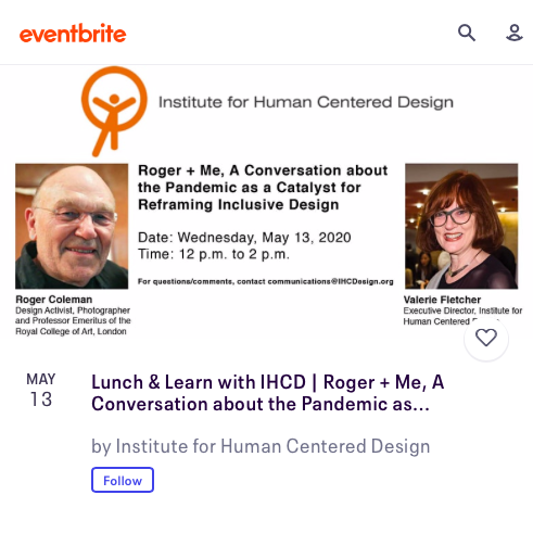 Screenshot of Eventbrite cover page showing Roger Coleman and Valerie Fletcher