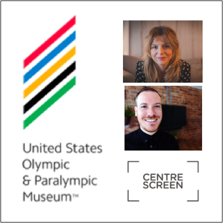 United States Olympic and Paralympic Museum logo with the Center Screen logo and headshots of the speakers.