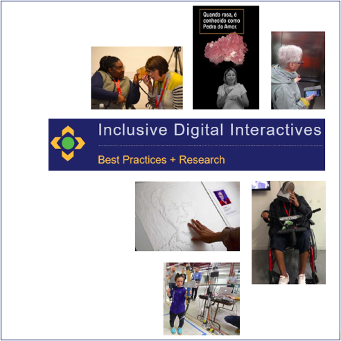 Inclusive Digital Interactives publication cover with title and six selected images from the book