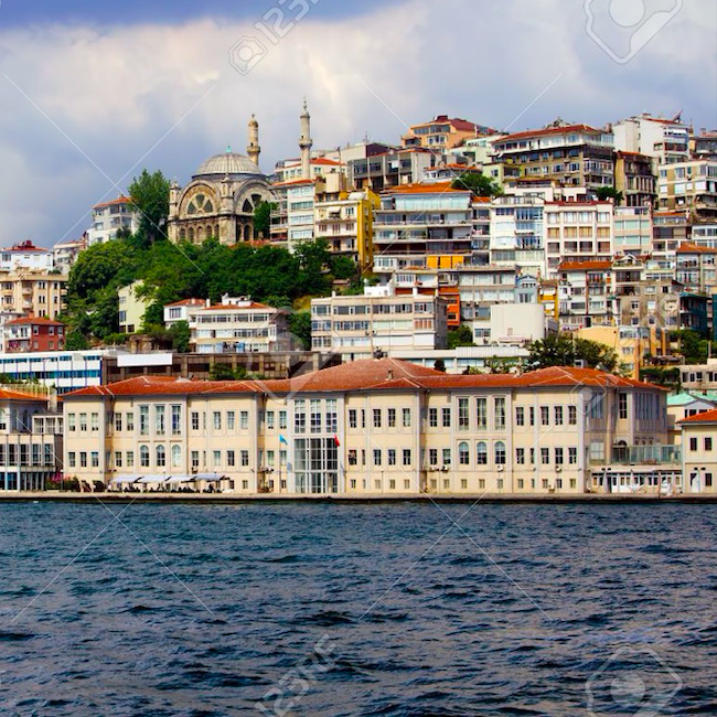 mimar sinan university of fine arts in beyoglu district of Istanbul, Turkey. View from the Bosphorus