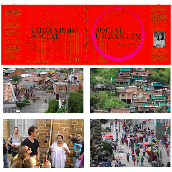A collage of images: across the top third, a red book jacket with the title of the book on the left in Spanish and on the right in English. Below that, 4 images arranged in a grid: the two at the top show houses cramped together while the two at the bottom show a lively urban setting with many people.