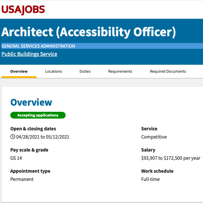 Screenshot of the USAJobs landing page with some details on the available job position including dates, payscale, work schedule, salary, service, and appointment type.