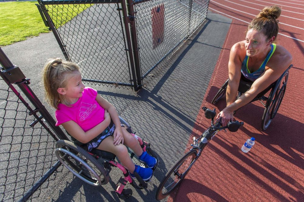 Young wheelchair racer Maddie with her mentor Tatyana McFadden