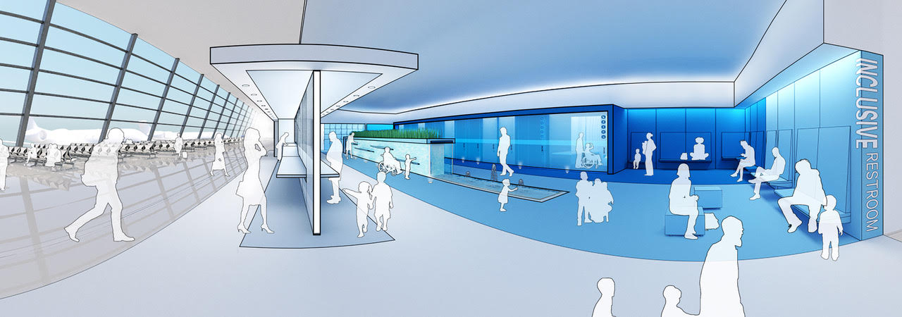A blue and white themed rendering of an inclusive restroom prototype with the space themed blue and the people rendered in white