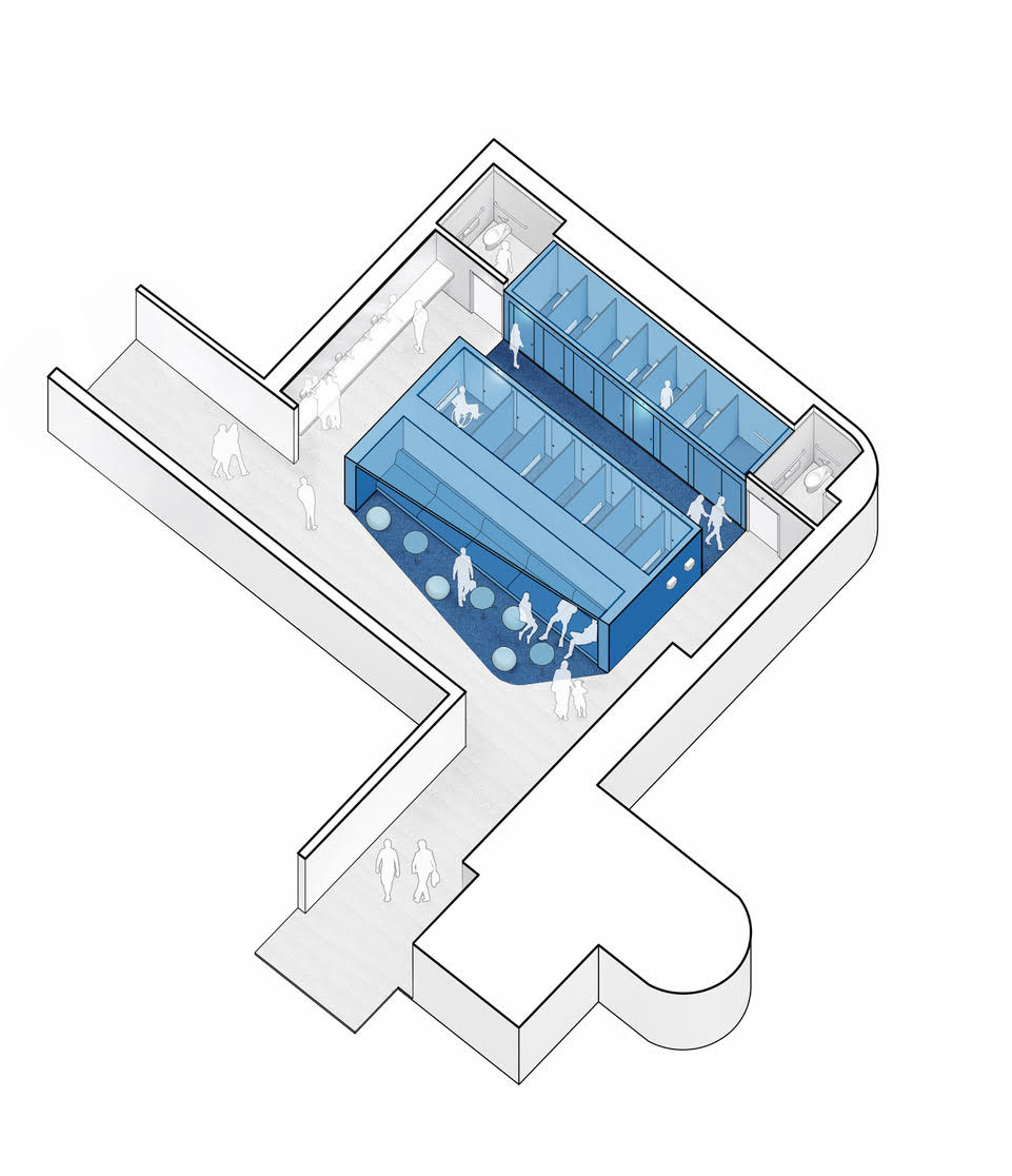 A bird's eye view of a rendering of an inclusive restroom prototype