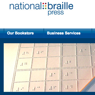 National Braille Press logo and menu options from website home page