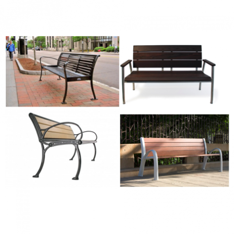 A collage of four benches that will be tested by user/experts
