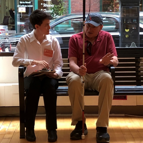 An IHCD interviewer with a User/Expert during the bench study