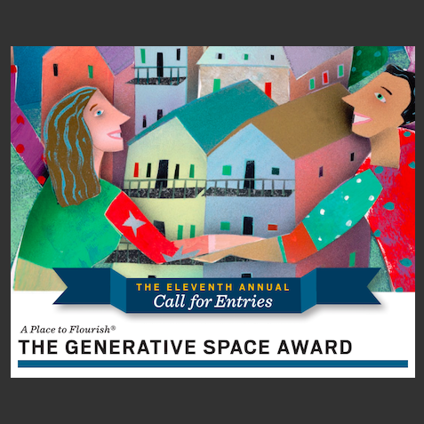Flier for the call for entries for the eleventh annual generative space award with an illustration of a cartoon man and woman holding hands to form a frame around houses in the distance