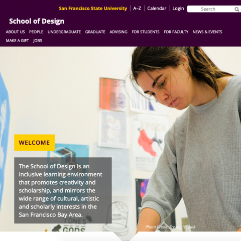 San Francisco State University School of Design website home page banner image and mission statement