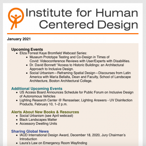 Screenshot of the IHCD logo and table of contents at the beginning of the newsletter